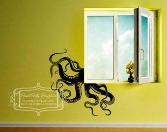Octopus tentacle vinyl wall decal set