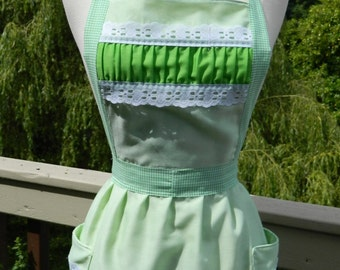Upcycled Apron - Vintage Green Dainty Ruffles