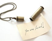 Metal Vial Necklace & Love Note / vial pendant necklace . brass 7th anniversary gift . 7th wedding anniversary gift