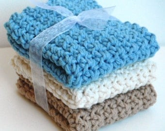 Crochet Dishcloths Washcloths - Set of 3 - For Kitchen, Bathroom, Baby - Blue, Cream, Tan - 100% Cotton