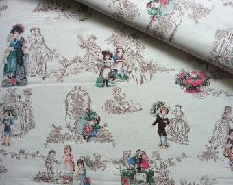 Japanese Fabric Yuwa, Victorian Fabric, Victorian Children, Vintage Fabric, Victorian Couple Fabric, Gothic Fabric/Vintage Couple/a yard