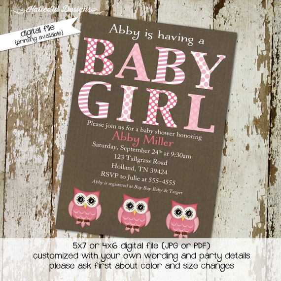 owl baby shower invitation floral chic invite surprise gender reveal diaper wipe brunch co-ed baby shower two moms 1337 Katiedid Designs