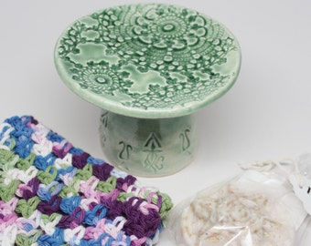 Soap Dish Gift Set, Pedestal Soap Dish with a Crocheted Wash Cloth and Handmade Soap Gift Set