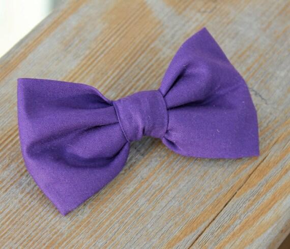 Sollid Purple Bow Tie - clip on, pre-tied adjustable strap, or self tying