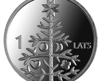CHRISTMAS TREE Coin for Luck - Jewelry Making - Scrapbooking - Original Presents - Supplies - Collectibles Coin - Numismatics