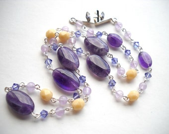 Amethyst and Swarovski crystal necklace: Vanilla Moonlight - gift for her, february birthstone, purple necklace, purple, cream, violet