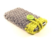 Crocheted iPod / iPhone / MP3 Player / Mobile Phone Cozy in Gray with Lime Stripe