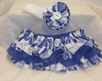 Duke Colors Ruffle Bloomers with Matching Headband  Set --  Football girl - Duke baby - baby girl Duke