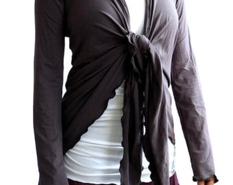 EX Small Longsleeve Yoga Wrap Shirt in Charcoal Gray