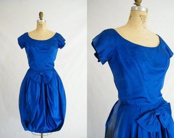 Vintage 1960s Cocktail Dress / Royal Blue / Satin / Vintage Prom Dress