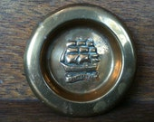 Vintage English Brass Small HMS Victory Plate circa 1950's / English Shop