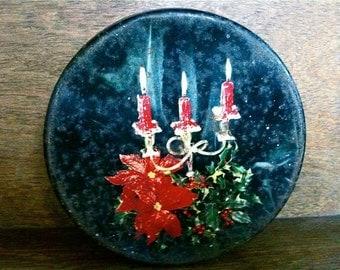 Vintage English Black Christmas Candles Tin Box circa 1940's / English Shop