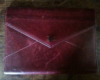 Vintage French Blood Red Card Wallet circa 1970's / English Shop