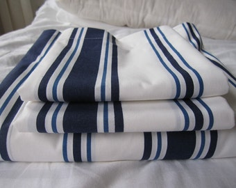 Nautical bedding - Coastal - cottage -White navy stripe Queen nautical bedding bed sheet sets flat loose sheet with pair pillowcases