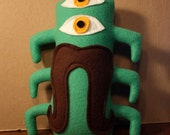 MINI PLUSH MONSTER Wilbur in Green with a Mustache