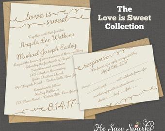 Printable Wedding Invitation - Love Is Sweet