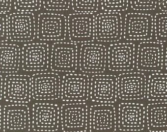 Fat Quarter of Stitch Square Stone Ground Coffee Brown by Michael Miller