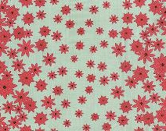 1 yard of  Winters Lane Poinsettias Border Floral in Mint by Kate Birdie Paper Co for Moda