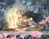 The Last Candle- whimsical childrens fairy fantasy wall art illustration