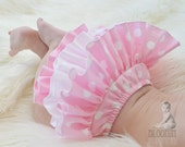 Pink Polka Dot  Diaper Cover Ruffle Bloomer Baby Bloomer Nappie Panty