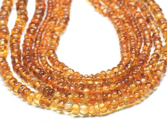 "Madeira CITRINE beads 9"" 4mm smooth beads CITM003"