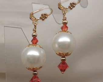 Faux Pearl and Swarovski Crystal Earrings