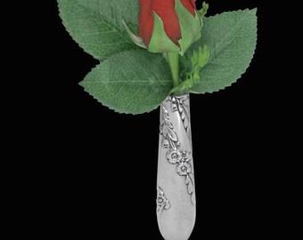 Lapel Flower Vase, Vintage Wedding, Bridal Wreath 1950 Tussie Mussie, Boutonniere Lapel Vase Pin, Silverware jewelry
