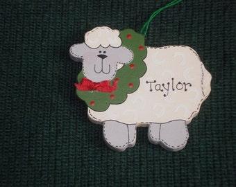 Personalized Wood Christmas Ornament - Lamb