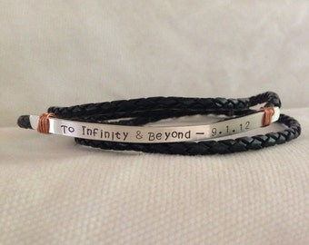 To Infinity & Beyond. Men's Custom Triple Band Silver Braided Leather Bracelet. Lobster  Closure. Secret Message. Rustic. Reclaimed Silver.