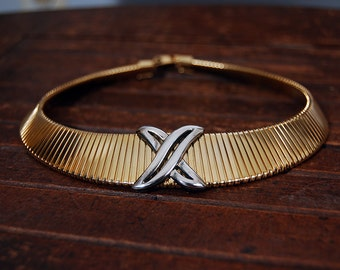 Vintage Gold Tone Snake Choker Necklace with Silver Accent
