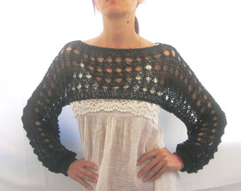 Cotton Summer Cropped  Sweater Shrug in Black color, hand knitted, ecofriendly