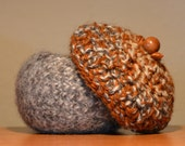 "Fiber Art - Acorn bowl and lid, hand felted and hand formed bowl and crocheted lid.  Bowl measures 4"" in diameter and 4"" high."