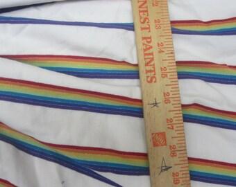 Glittery Rainbow Blanc Cotton Lycra STripe Knit FAbric