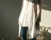 White natural thin linen cardigan/dress