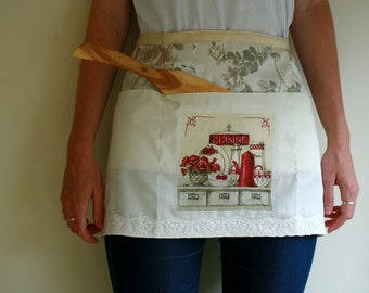 Red accent Cuisine kitchen half apron with decoupage detail, waitress style apron, vendor apron