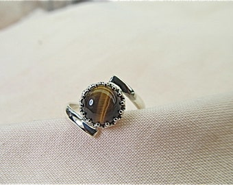 silver tigereye ring