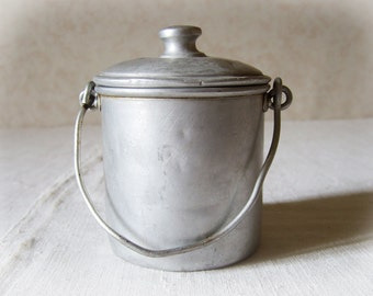 French Berry Pail canister Simple Aluminum Primitive aluminum