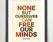 Bob Marley 13x19 print, Free Our Minds, Retro Bob Marley, Bob Marley Quote Poster, Typograph, Retro Decor Poster, One Love