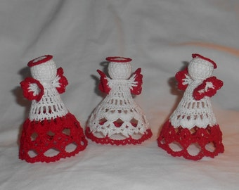 3 Red and White Crochet Angels #1 - FREE SHIPPING to US and Canada
