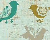 Large Motif Wall Art Lace Bird Sweet Tweets Stencil Set A for DIY Wall Decor