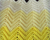 Vintage Ombre Chevron Crocheted Afghan - Chocolate Brown and Lemon Yellow - Lap Blanket - Vintage Throw - Ready to Ship