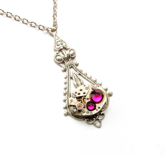 JULY PINK RUBY Steampunk Necklace Steam Punk Jewelry Steampunk Watch Necklace Silver Pink Victorian Steampunk Jewelry VictorianCuriosities