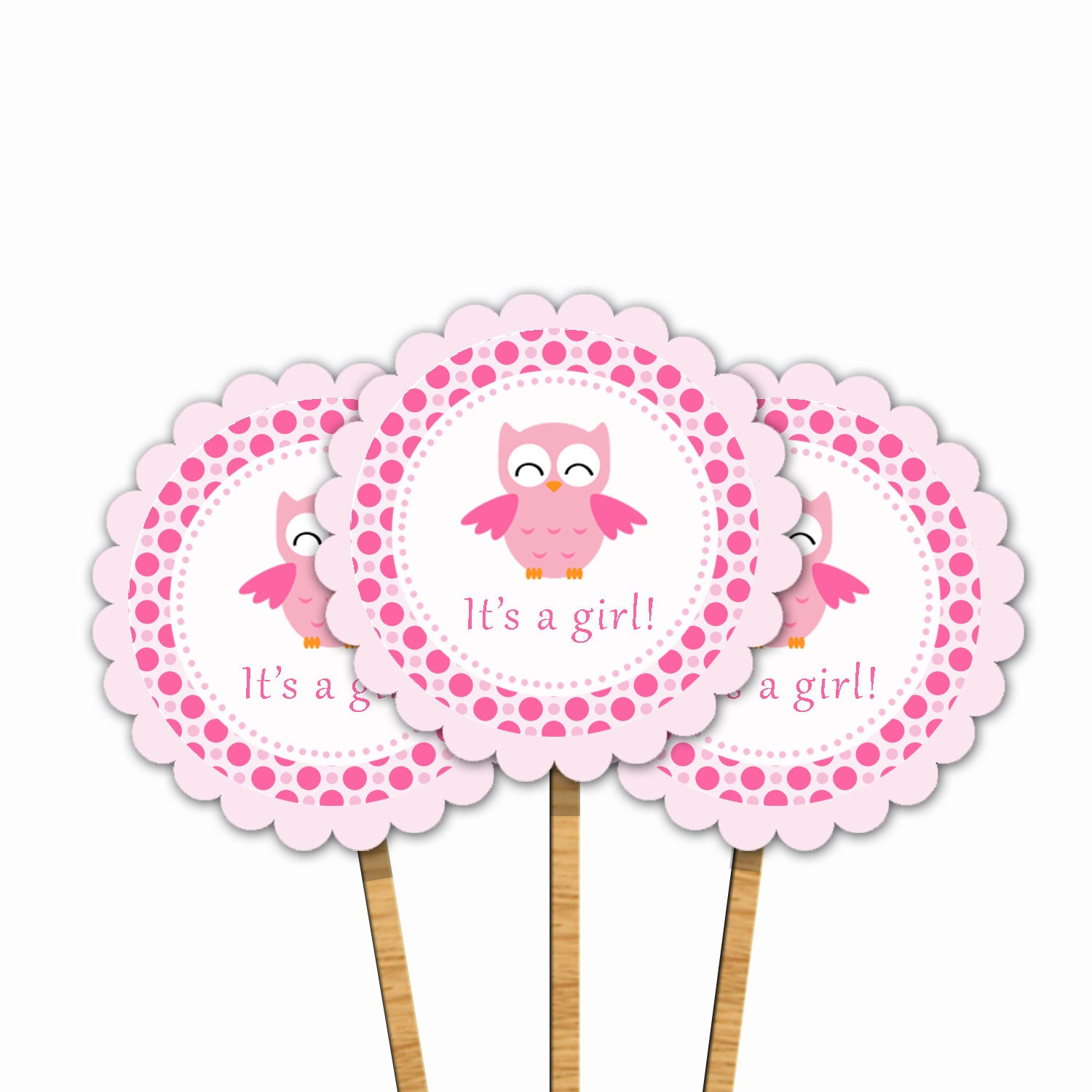 Instant download pink owl printable baby shower cupcake for Baby shower cupcake picks decoration