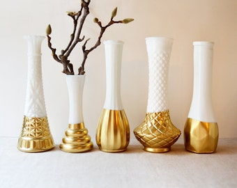 Gold Dipped Milk Glass Vases - Set of 5 vases - vintage