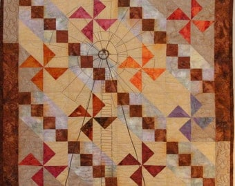 Art Quilt, Windmill at Sunset