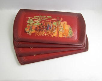 Set of Four Vintage Hasko Trays, Deep Red, Carriage Street Scene