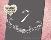 Printable Table Number Name FLOURISH & CURLICUE  DIY Wedding Decor You Print Modern Setting Template Pdf Seating Sign Signage Idea Online