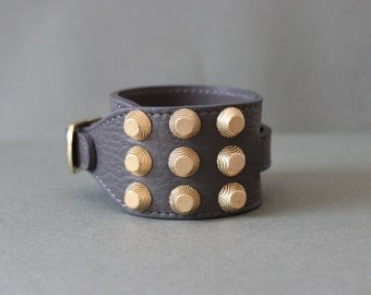 Soft Cowhide Bracelet with 3 Row Giant Gold Stud(Grey)