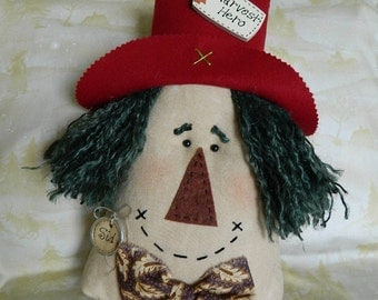 "Scarecrow Doll-Pillow ~ Sid ~  12"" tall, Green Hair"