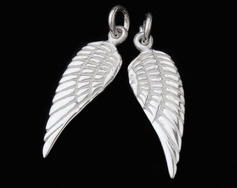 2 of 925 Sterling Silver Angel Wing Charms 7x18mm. :th1828